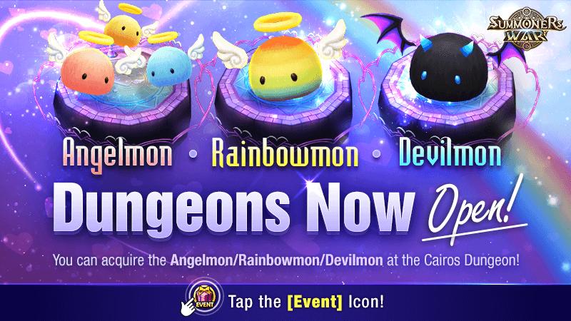 AngelmonRainbowmonDevilmon Dungeons Open